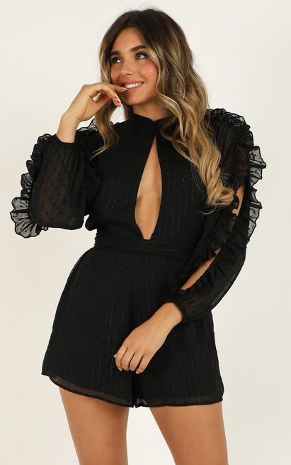 Text You Later Playsuit in black - 18 (XXXL), Black, hi-res image number null