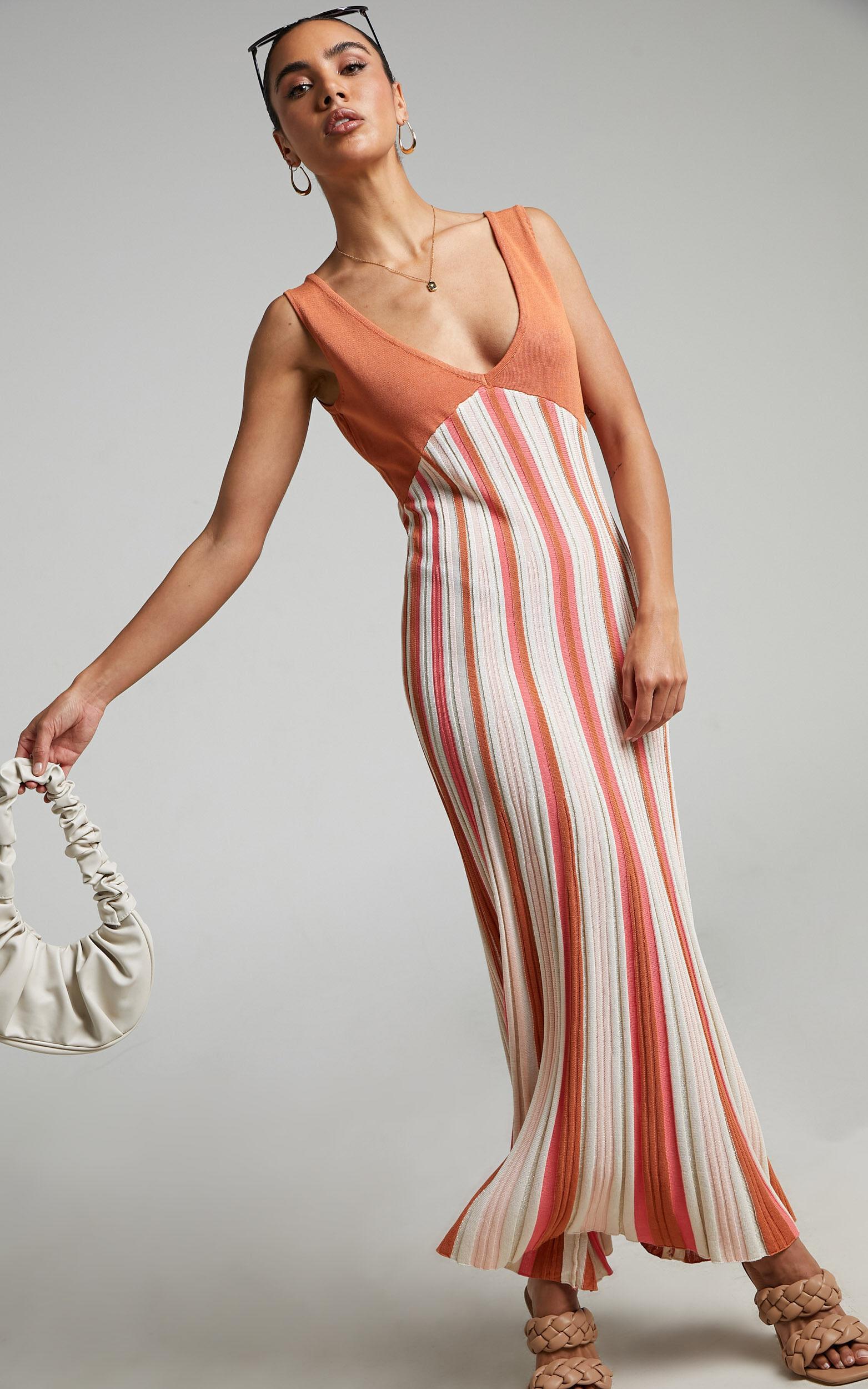 Tomica Knit Rib Maxi Dress in Multi Stripe - 06, MLT1, super-hi-res image number null