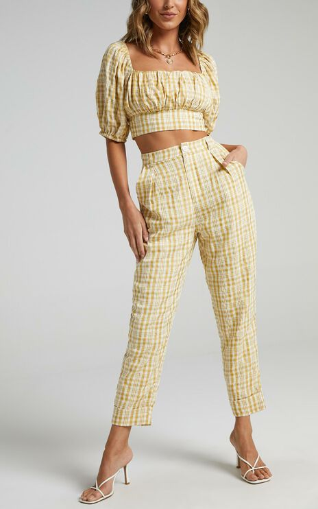 Racquelle Two Piece Set in Mustard Check