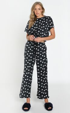 Project REM - Boxy Tee Set in Black Daisy