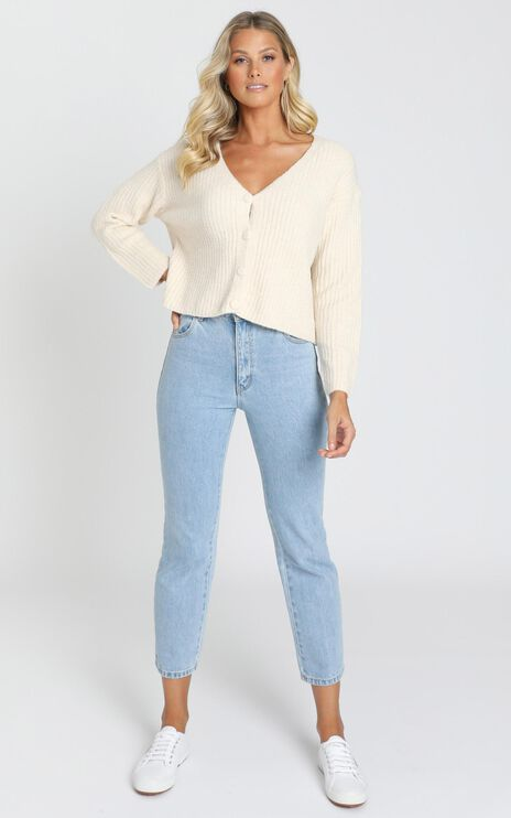 Charlize Knitted Cardigan in Latte