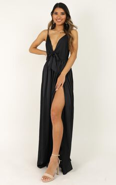 Miracle Worker Dress In Navy Satin