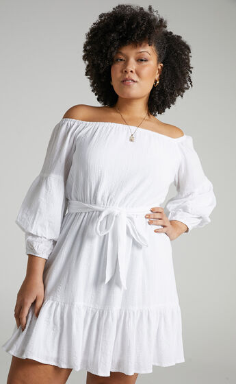 Getting It Right The First Time Off Shoulder Mini Dress in White
