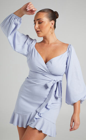 Cant Move On Off Shoulder Mini Dress in Powder Blue Linen Look