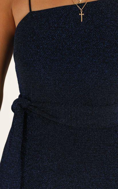 Song Bird dress in blue lurex - 14 (XL), Blue, hi-res image number null