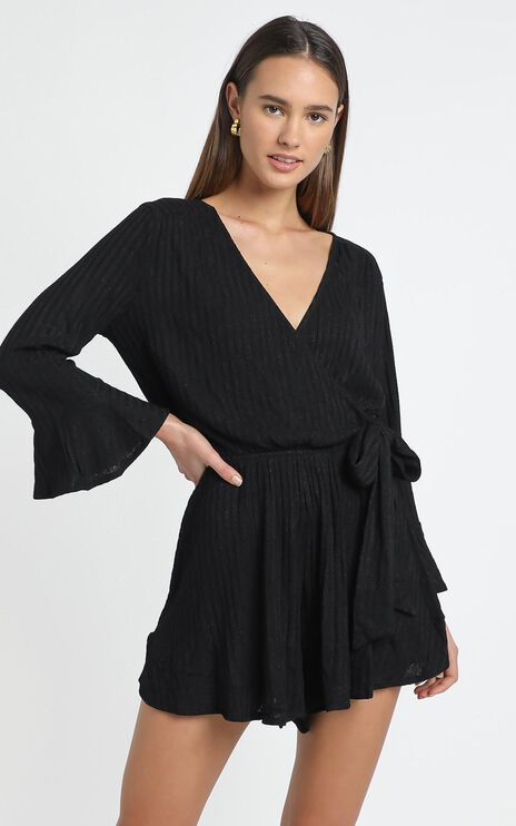 New and Fresh Playsuit in Black Rib