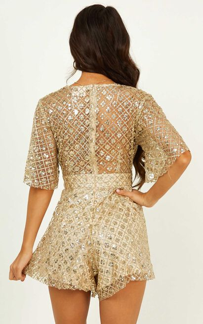 Say It To Me Playsuit in gold glitter - 20 (XXXXL), Gold, hi-res image number null