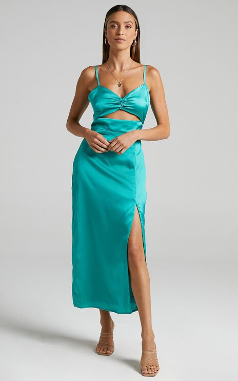 Arwen Dress in Jade Satin