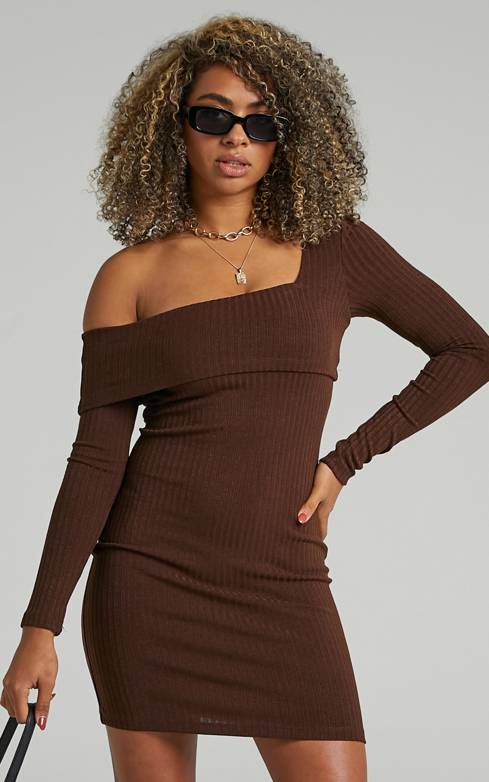 Hyden Assymmetrical Neckline with Long Sleeve Mini Dress in Chocolate - 06, BRN1, super-hi-res image number null