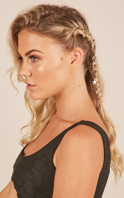 Kings And Queens star hair rings in gold, , hi-res image number null