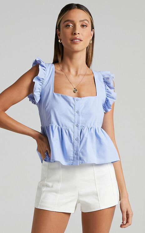 Asteria Top in Periwinkle Blue