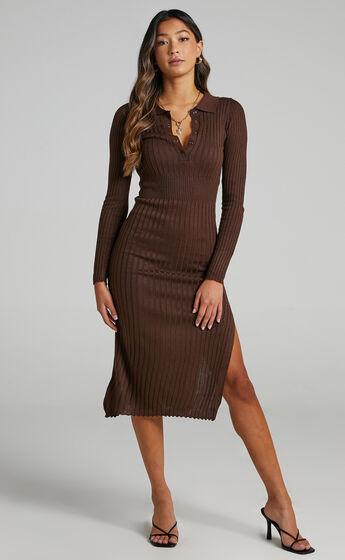 Ellidy Collared Midi Knit Dress in Dark Chocolate Brown