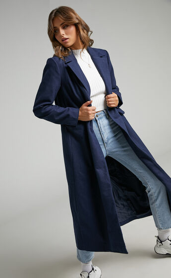 Lizah Button Up Trench Coat in Navy