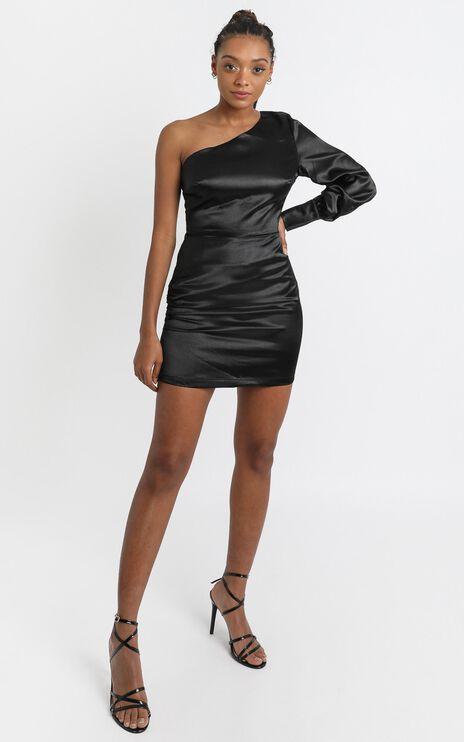 Eve One Shoulder Mini dress in black satin