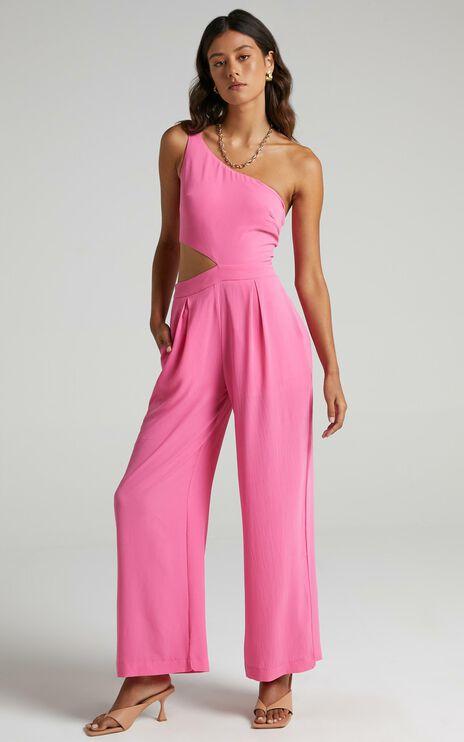 Beautiful Darkness Jumpsuit In Bubblegum Pink