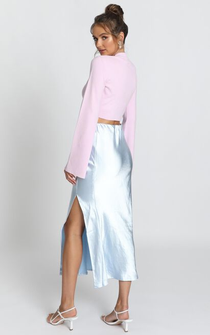 Marleigh Satin Midi Skirt in dusty blue - 12 (L), Blue, hi-res image number null