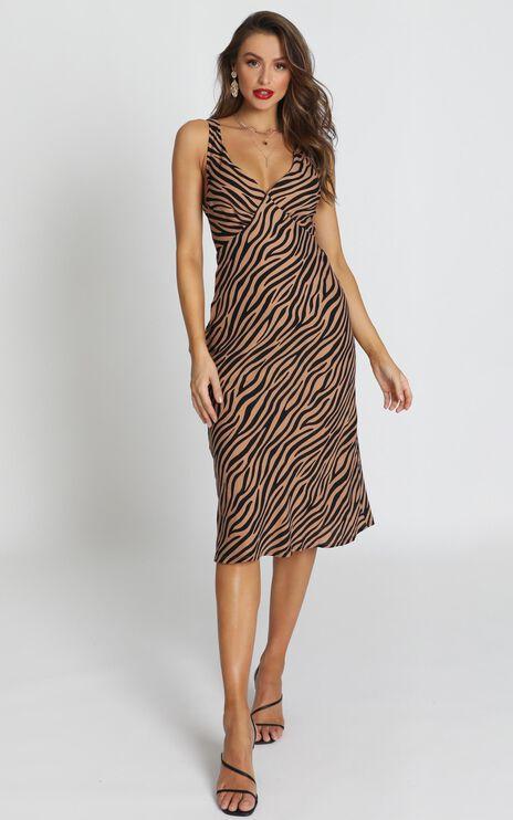 Find Your Feet Dress In Tan Stripe