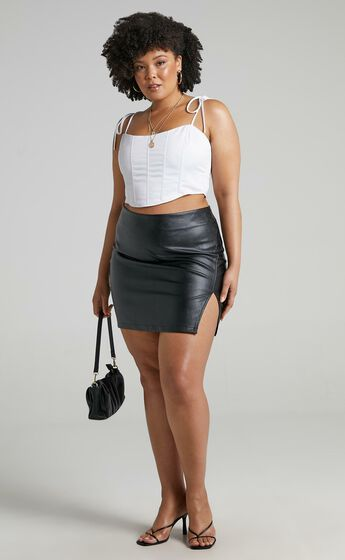 In The Name Of Love  Leatherette Mini Skirt in Black Leatherette