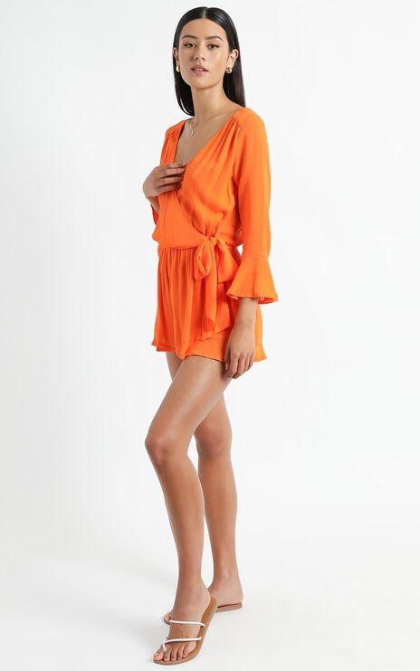 Sunday Breeze Playsuit In Tangerine Linen Look
