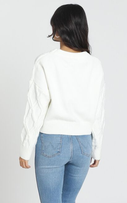Rae Cable Knit Jumper in ivory - M/L, White, hi-res image number null