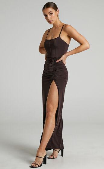 Trinah Corset Maxi Dress in Chocolate