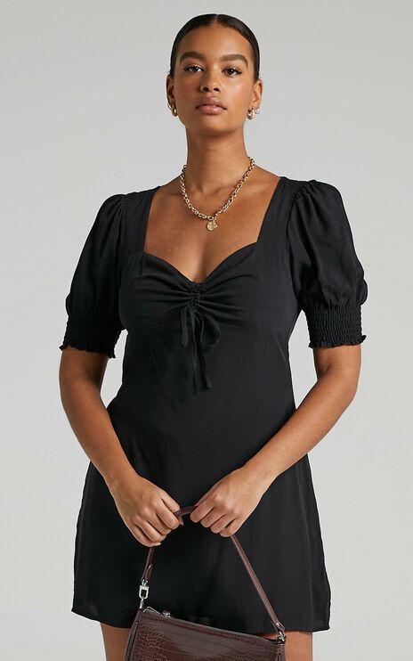 Titania Dress in Black Rayon