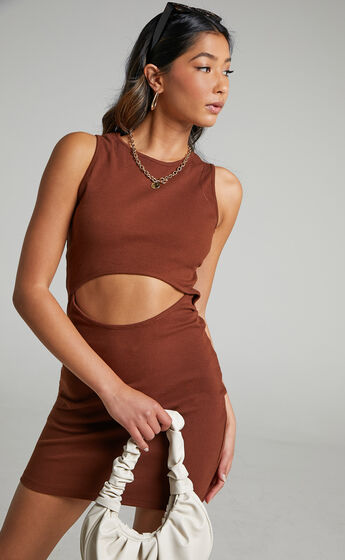 Trinity Bodycon cut out mini dress in Chocolate