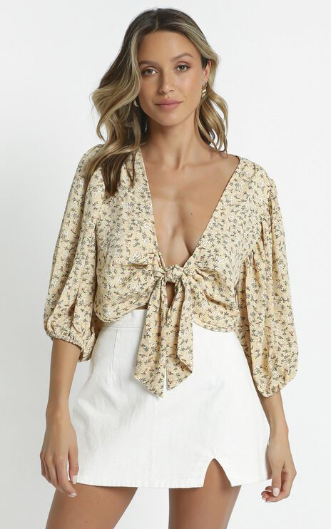 Fleur Top in Yellow Floral