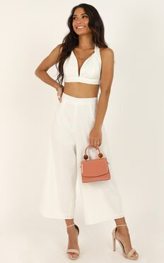 Wont Change Two Piece Set In White Linen Look