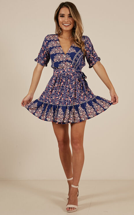 On The Move Dress In Navy Print