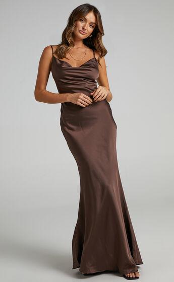 Lunaria Dress in Chocolate Satin