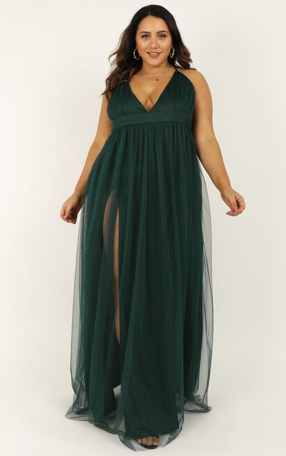 Like A Vision Dress In emerald mesh - 20 (XXXXL), Green, hi-res image number null