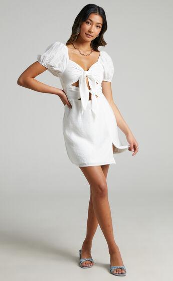 Alexandrine Double Bow Short Sleeve Mini Dress in White