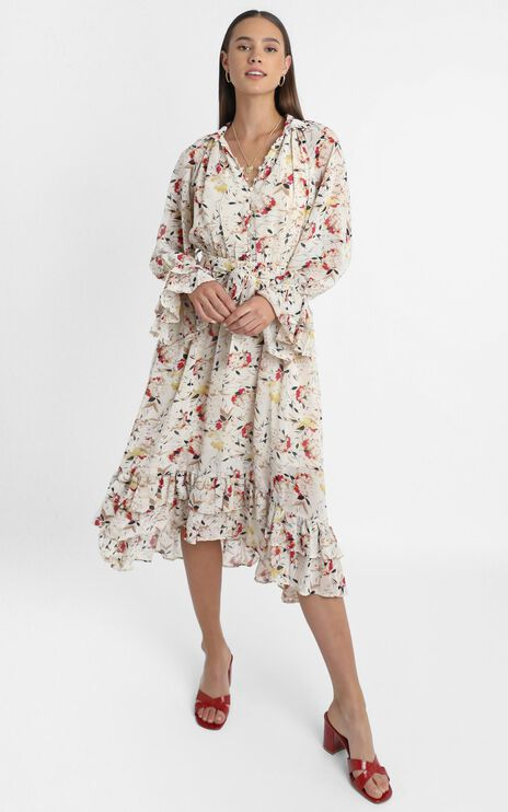 Leticia Dress in Beige Floral