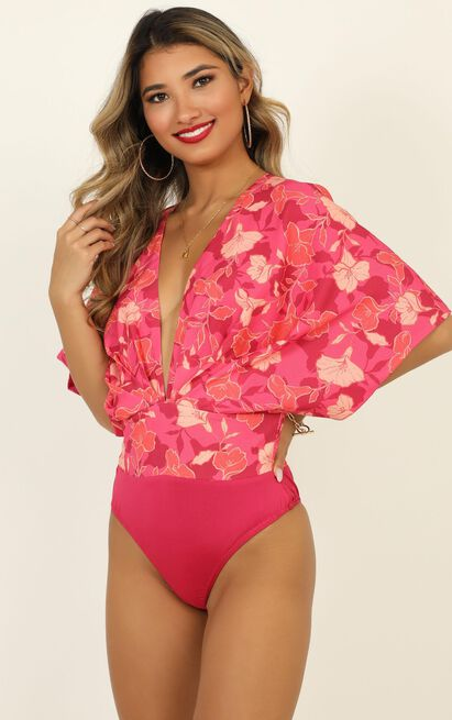 be my wild flower bodysuit in berry floral - 20 (XXXXL), Pink, hi-res image number null