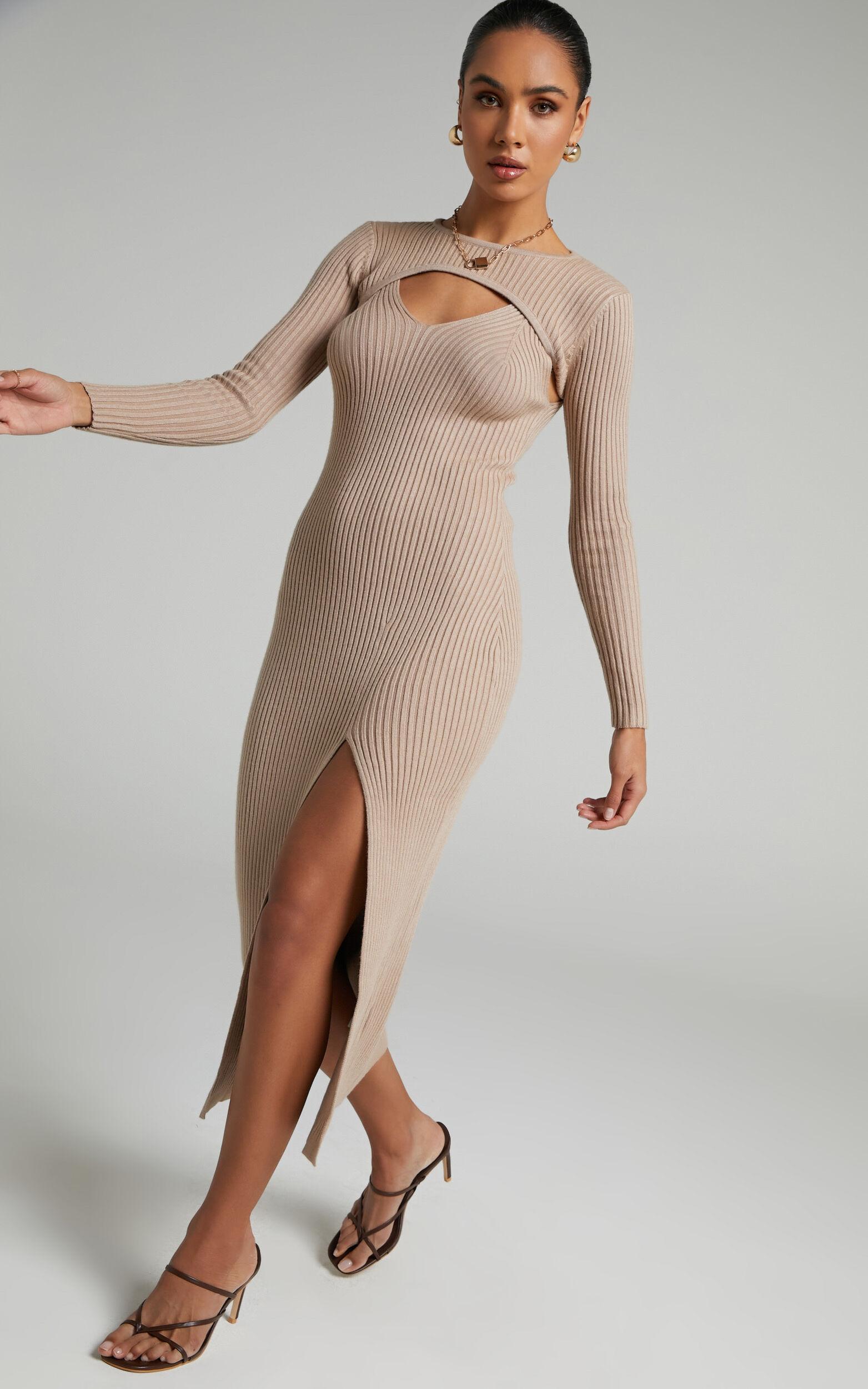 Codie Knit Dress in Beige - 06, BRN2, super-hi-res image number null