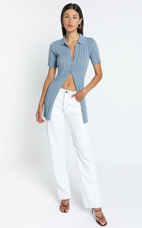 Lioness - Silverlake Cardi Top in Dusty Blue