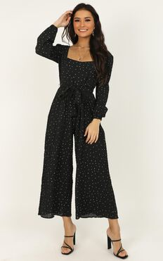 Big Adventures Jumpsuit In Black Spot