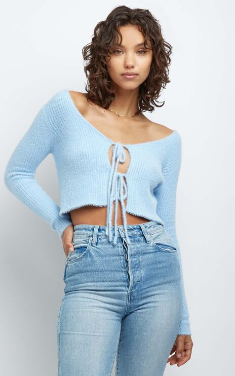 Nell Knit Top in Blue
