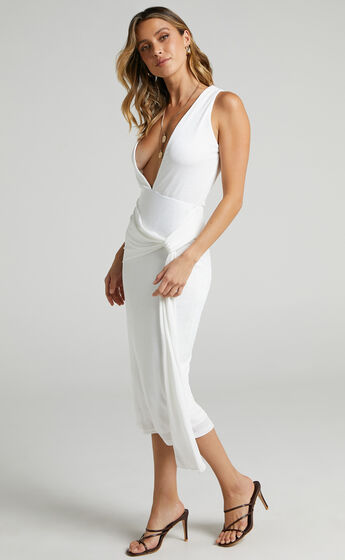 Jamellia Low V-Neck Drape Front Midi Dress in White