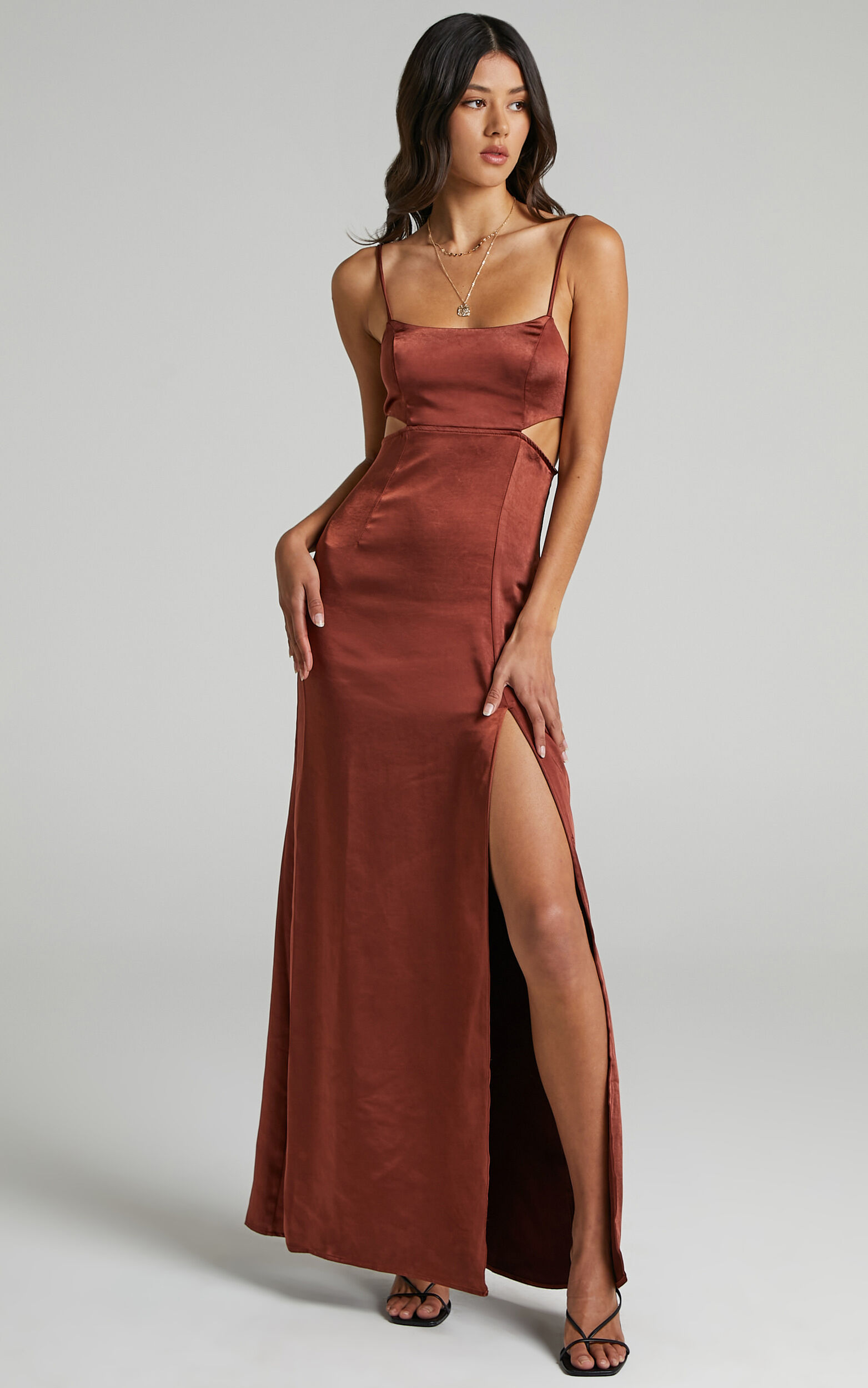 A Special Mention Dress in Chocolate Satin - 06, BRN2, super-hi-res image number null