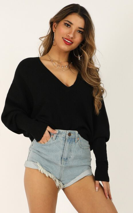Winning At Life Knit Sweater in Black