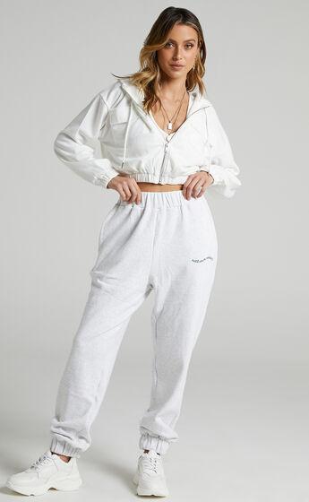Virginia Zip Up Hoodie in White