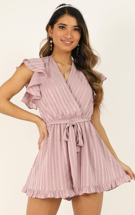 Just Stay On Track And Never Look Back Playsuit in Blush