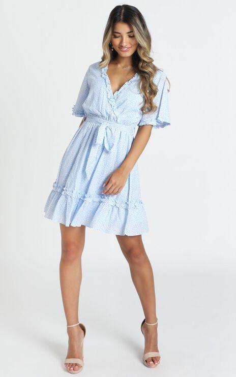 Novah Frill Detail Flippy Dress In Blue Floral