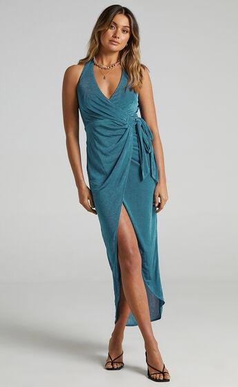 Tracee Halterneck Wrap Dress in Emerald