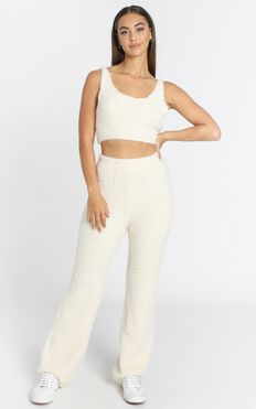 Athena Fluffy Knit Two Piece Set in Ivory
