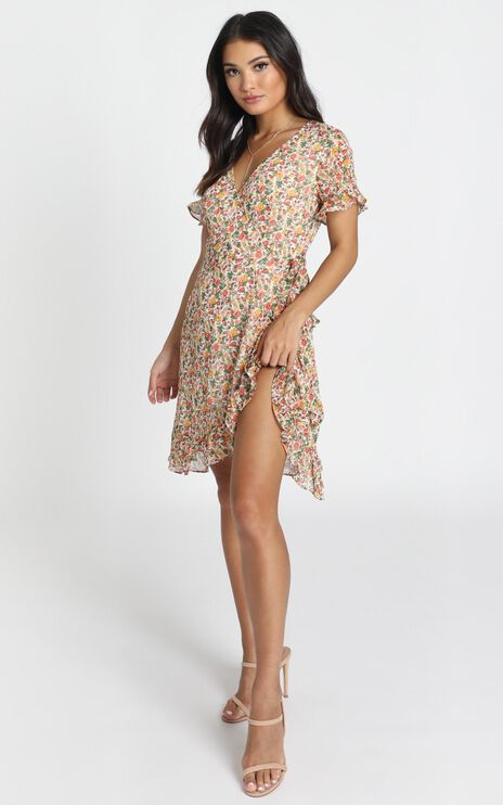 Lucia Wrap Mini Dress In Multi Floral