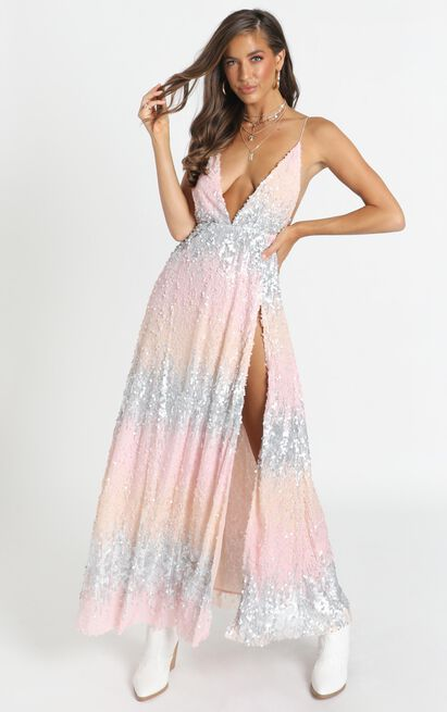 This is For You Dress in multi sequin - 20 (XXXXL), Blush, hi-res image number null
