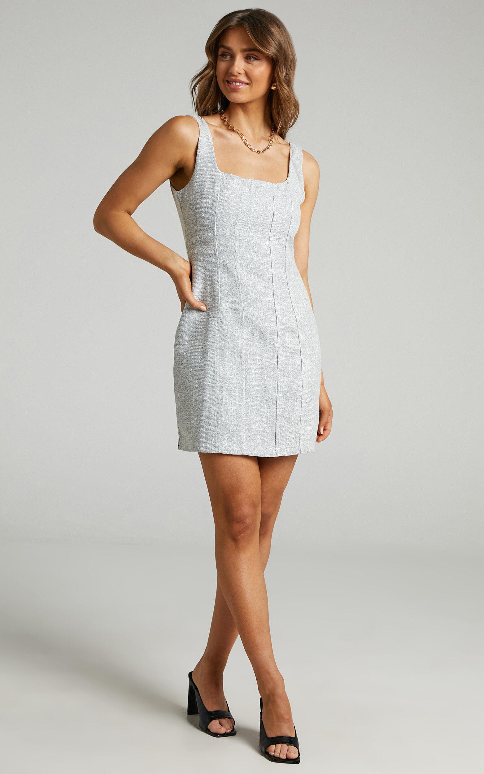 Nimby Mini Panelled Tweed Dress in Cream Tweed - 04, CRE2, super-hi-res image number null